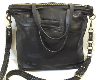 Reclaimed, repurposed, recycled, upcycled OOAK black leather crossbody tote bag