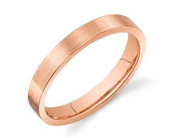 14k Rose Gold Band (3mm) / PLAIN / Matte Brushed Flat + Comfort Fit / Men's Women's Wedding Ring