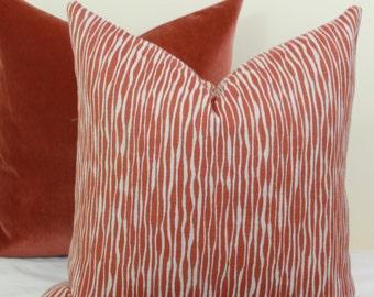 Brick red reversible throw pillow cover 18x18 20x20 22x22 24x24 26x26 Euro sham Red lumbar pillow Orange euro sham 12x20 12x24 14x26 16x26
