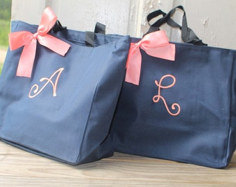 Bridesmaids Gifts Tote Bags, Set of 7, Monogrammed Tote, Bridesmaid Tote, Personalized Tote, Bridal Party Gift, Wedding Tote, Personalised