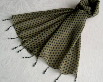 Scarf decorated with beads, lightweight scarf, scarf jewelry scarf summer accessories, gift woman, grey or Khaki, peas 189
