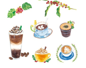 coffee clipart , coffee with flower ,watercolor clip art, digital download