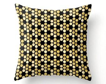 Honey Comb. Hexagon Gold and Black Throw Pillow. Cushion Cover. Pillow Case. Glamorous Home Decor