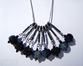 Safety Pin Statement Necklace with large textured iridescent beads and black seed beads