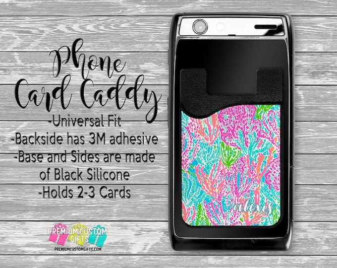 Lilly Inspired Phone Caddy - Personalized Card Holder - Phone Accessories - Gifts For Her - Phone Wallet - Custom Card Holder  - Card Wallet