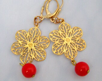 Gold Plated Filigree Flower Earrings with Vintage Red Lucite Dangles