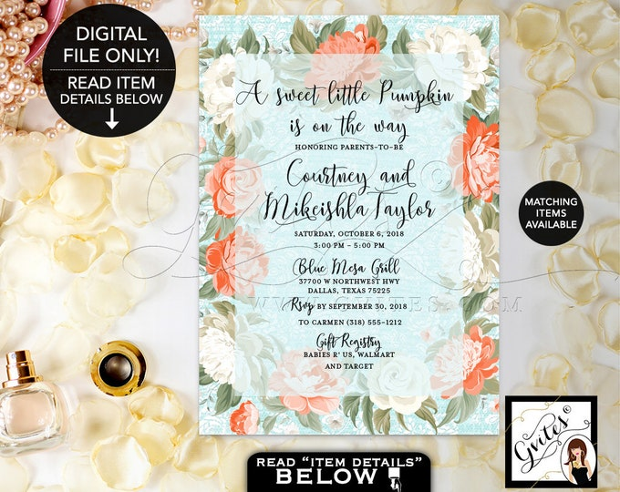 Peony Baby Shower Invitation, Pumpkin Baby Shower Printable Invites, Floral Baby Ivory, Blue, Orange Green, Printable Digital, Vintage, 5x7