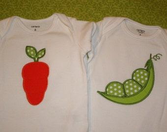 Peas and Carrots Bodysuits, Twins Bodysuit Set