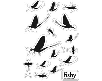 SET of 15 MAYFLY STICKERS - fly fishing sticker - may fly decal