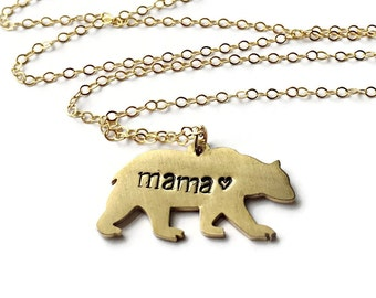 gold mama bear necklace, mothers day gift, necklace for mom, bear necklace, gold bear necklace, mom necklace, mom jewelry, mom bear necklace