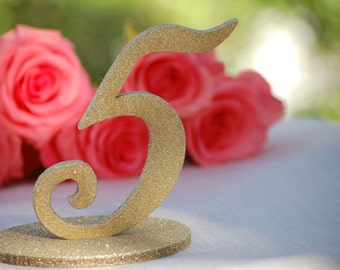 Wedding Table Decor, Wedding Table Numbers Gold Glitter, Glitter Table Numbers, Wedding Centerpiece Gold, Table Number and Base