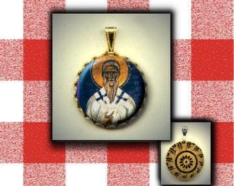 St Macarius of Jerusalem Orthodox Saint hand pressed CABOCHON in Brass Charm / Pendant