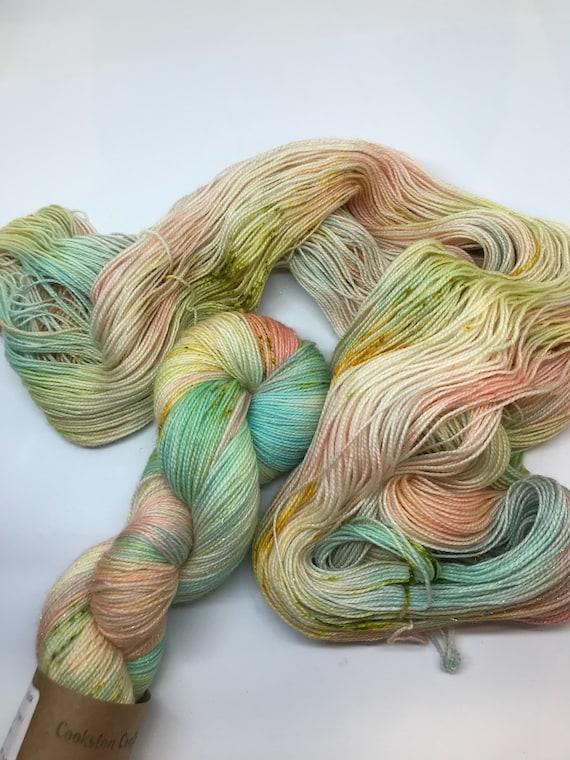 Inca - 100g Superwash Merino / Nylon / Gold Stellina Sparkle Sock Yarn 4 ply, fingering, hand dyed mint green, peach, mustard speckles