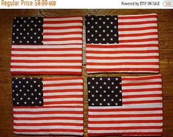 20 % off thru 5/31 USA Flag Coasters- Set of 4- Quilted  and pieced- 4th of July- patriotic- americana red white blue