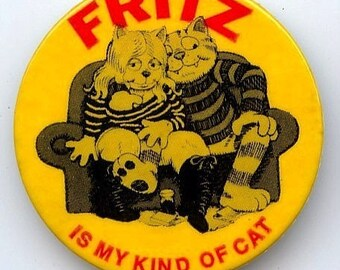 Original 1972 Robert Crumb Fritz The Cat Promo Pin