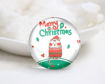10mm 12mm 14mm 16mm 18mm 20mm 25mm 30mm Handmade Round Photo Glass Cabs Cover-Christmas (P2115)