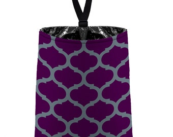 Car Trash Bag // Auto Trash Bag // Car Accessories // Car Litter Bag // Car Garbage Bag - Moroccan Trellis (dark grey plum) Purple Organizer