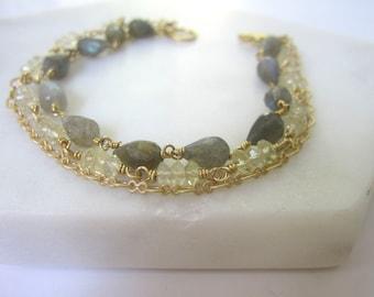 Three Strand Gemstone Bracelet, Labradorite Bracelet, Lemon Quartz, Triple Strand Bracelet, Multigemstone, Gift for Her