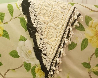 White and Black Shawl Scarf