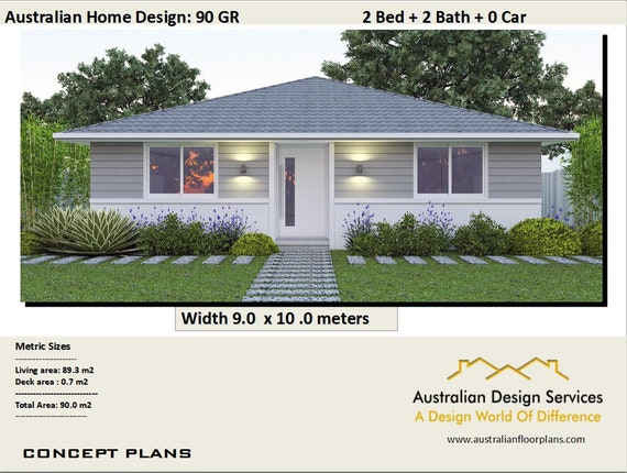 High Quality 968 Sq Feet Or 90 M2 | 2 Bedroom | 2 Small Home Design | Small Home Design  | 2 Bedroom Granny Flat | Concept House Plans For Sale