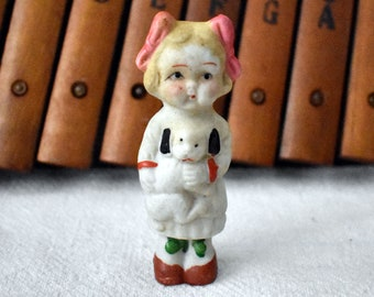 Japan Bisque Doll - Little Girl Doll w Puppy China Doll - Japan Bisque Frozen Baby Doll