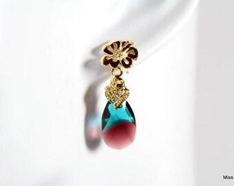 Plated Gold Green and Burgundy Swarovski Crystal pendants