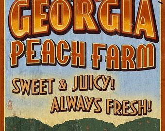 Georgia - Peach Farm Vintage Sign (Art Prints available in multiple sizes)