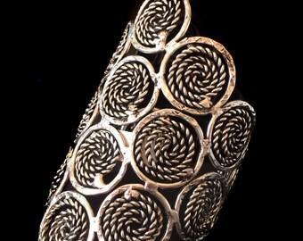 Large SILVER CUFF Bracelet,statement Cuff bracelet,Tribal Ethnic Long Cuff bracelet ,Womens bracelet  Silver Cuff bracelet Taneesi YC315