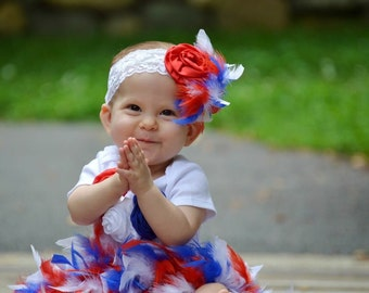 Red White and Blue Full Feather Diaper Cover Bloomer, Bodysuit & Headband 4th of July, Patriot Baby, Military Baby, Baby's 1st 4th of July