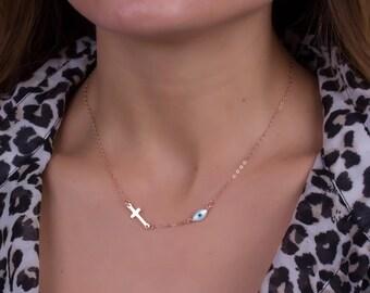 Rose Gold sideways cross / Evil eye necklace / Gold evil eye necklace / Dainty necklace / Protection necklace /Gold filled necklace|Griffins