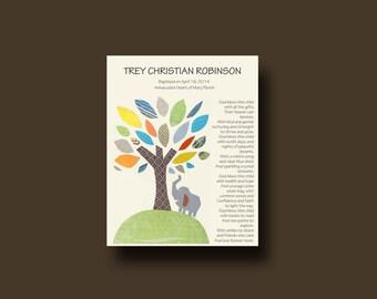Baptism Gift, Christening Gift, Personalized Baptism gift, Godson Gift, Baby Boy Gift, Elephant Nursery, Christening Keepsake - ELEPHANT