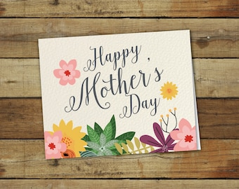 Printable Mother's Day Card, Floral Mother's day Card, Printable Gift for Mom