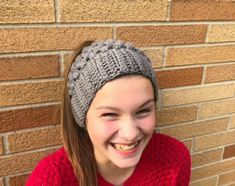 Gray Crocheted Ponytail Hat