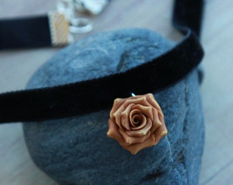 Choker necklace Rose choker Floral jewelry Handmade jewelry polymer clay Rose necklace Gold flower choker Womens gift Womens jewelry