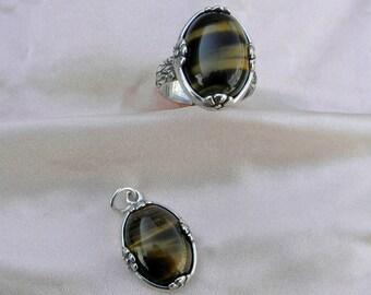 AAA grade Tiger eye Womans sterling silver ring, and pendant