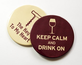 Wine Coasters, Keep Calm Drink On, Wine Accessories, Coasters, Wine Lover, Wine Tasting Party, Oenophile, Drink Coasters, Burgandy (5009a)