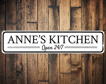 Kitchen Open 24/7 Sign, Personalized Kitchen Name Sign, Custom Kitchen Decor, Metal Chef Sign, Home Decor - Quality Aluminum ENS1001451