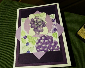 Purple Thank You Card, Purple Grapes, Mixed Media Card, Green and Purple, Grapes, Mixed Media Card, Layered Card, Blank Card