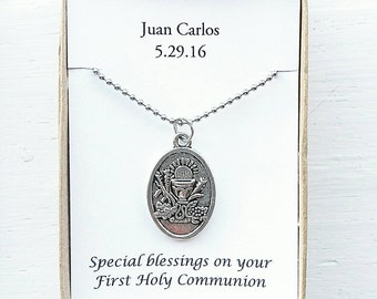 Boys first communion gift- personalized First Communion gift- boys first communion necklace- firat communion chalice pendant- silver cross