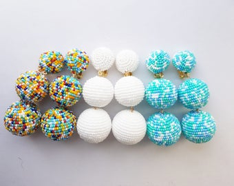three balls Les bonbons style Rebecca de Ravenel gumball  earrings Confetti multicolored datka jewelry