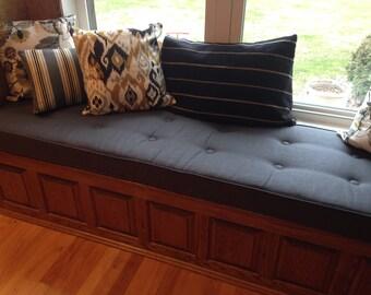 Custom Button tufted  Window Seat Cushion  with Cording - Bench Seat Cushion Bay Window, Tufted Bench Cushion, Custom Cushion