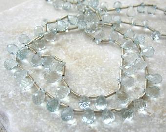 Tiny Aquamarine Faceted Briolettes 2.5x5.5mm - Half Strand 22 Beads
