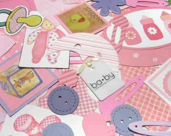 Baby Girl Embellishments - Baby Die-Cuts - Card-Making Supplies - Destash Baby Paper Crafting Mystery Bag - Die Cut Grab Bag - Scrapbooking
