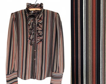 80s Ruffle Front Striped Blouse