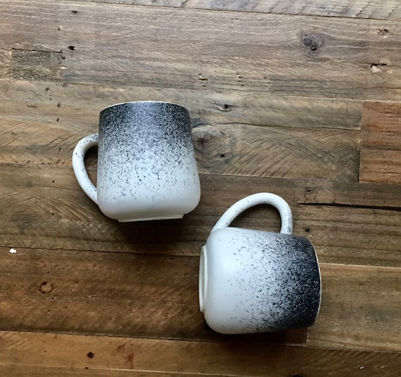ceramic mug - coffee cup -modern  white and black spray.