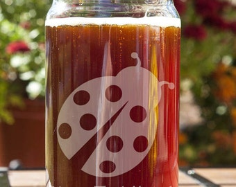 Ladybug Customizable Etched Beer Can Glass Glassware Gift