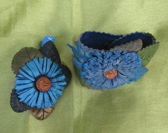 Blue Cornflower jewelry set leather, blue cornflower, Cornflower Bracelet leather and hairclip leather, bracelet leather flowers, hairclip