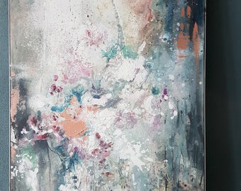 Picture, abstract, original painting, painting, mixed media, art, flowers