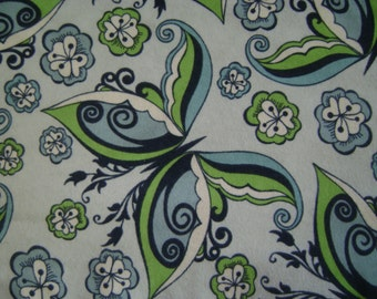 Sophisticated Butterfly Blue Flannel Fabric (1 yd 26 in)