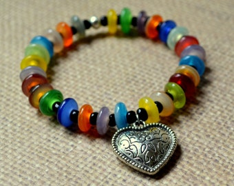 Boho Chic Multicolor Bracelet Silver Heart Stacking Bohemian Stretch India Beads Fashion Jewelry Rainbow Colors PaisleyBeading Free Shipping